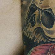 Татуировка мужская япония рукав череп