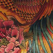 Татуировка женская япония на спине феникс