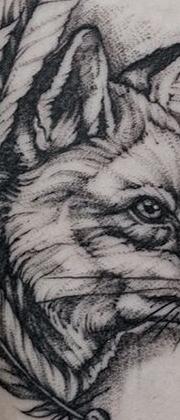 Татуировка женская графика на предплечье лиса