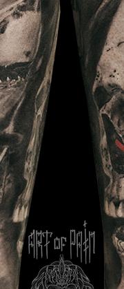 Татуировка мужская реализм на предплечье череп и акулы