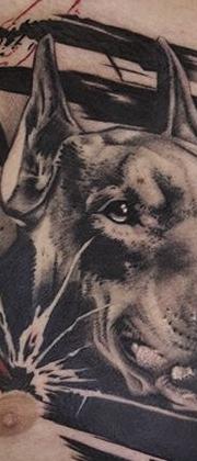 Татуировка мужская треш полька на груди доберман