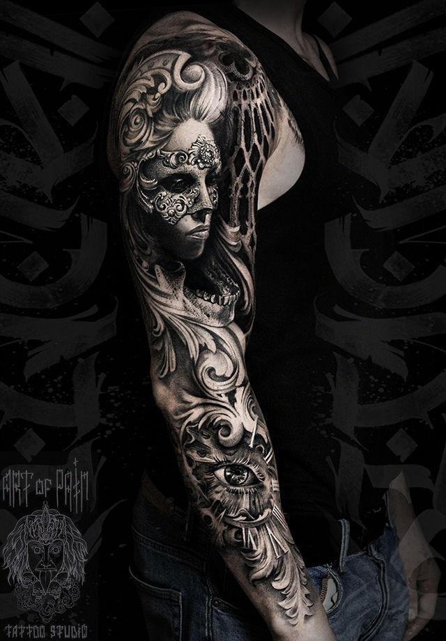 Татуировка мужская чикано тату-рукав девушка, маски, глаз – Мастер тату: Слава Tech Lunatic