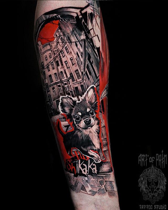 Татуировка мужская треш полька на предплечье собака – Мастер тату: Слава Tech Lunatic