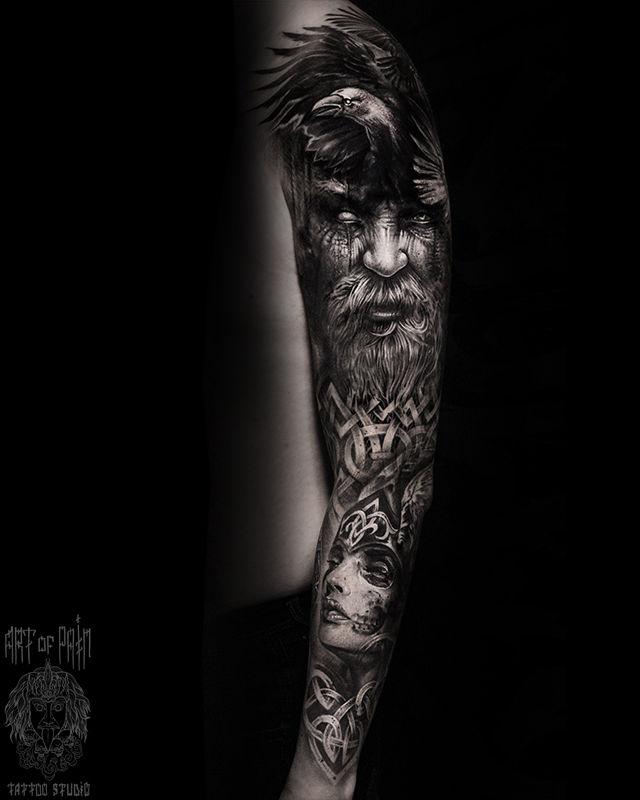 Татуировка мужская реализм тату-рукав старец, девушка, узор – Мастер тату: Слава Tech Lunatic