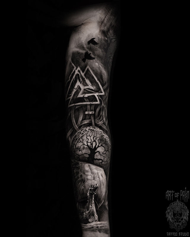 Татуировка мужская реализм тату-рукав дракон, узор – Мастер тату: Слава Tech Lunatic