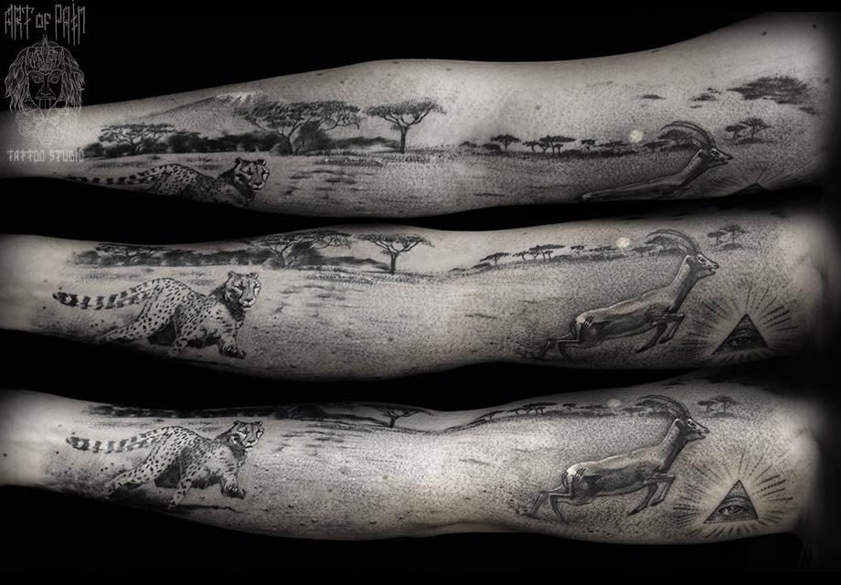Татуировка женская реализм на руке цветы гепард и антилопа – Мастер тату: Слава Tech Lunatic
