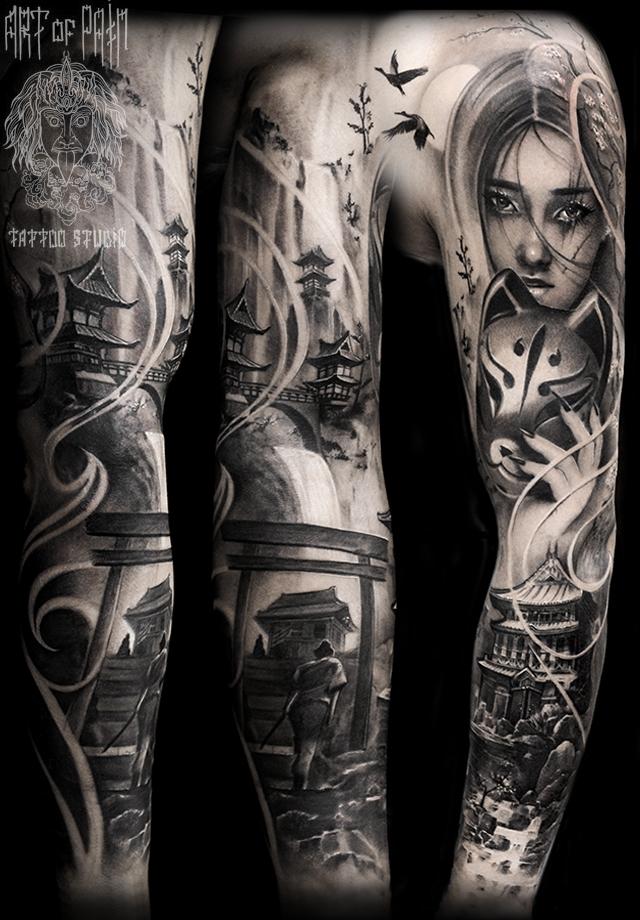 Татуировка мужская реализм тату-рукав девушка, пагода, япония – Мастер тату: Слава Tech Lunatic
