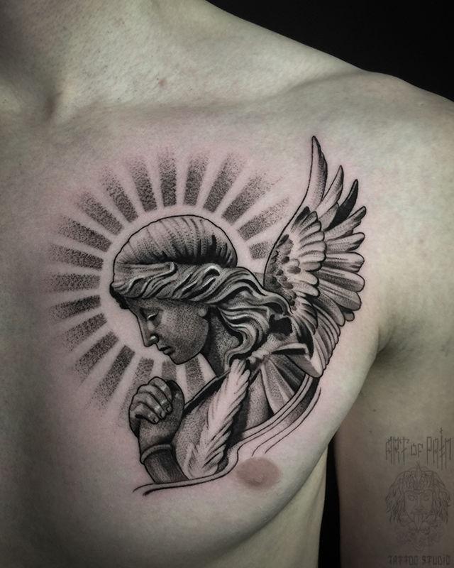 Татуировка мужская чикано на груди ангел – Мастер тату: Анастасия Юсупова