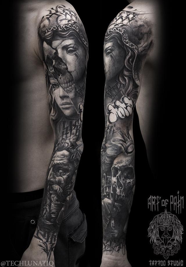 Татуировка мужская black&grey тату-рукав девушка, череп, посейдон – Мастер тату: Слава Tech Lunatic
