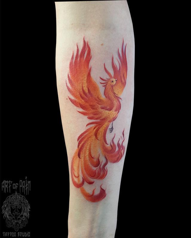 Татуировка женская нью-скул на предплечье феникс – Мастер тату: