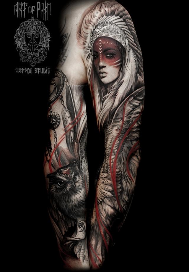 Татуировка мужская реализм тату-рукав девушка и сова – Мастер тату: Слава Tech Lunatic