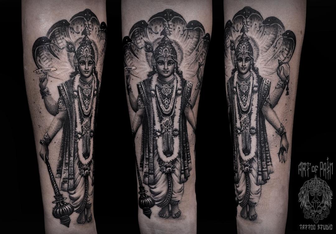 Татуировка мужская black&grey на предплечье шива – Мастер тату: Слава Tech Lunatic