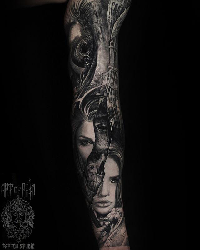 Татуировка мужская хоррор тату-рукав девушка, череп, глаз – Мастер тату: Слава Tech Lunatic
