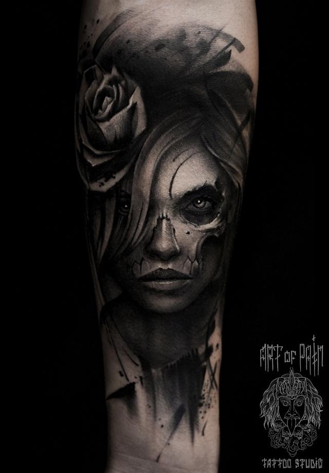 Татуировка мужская чикано на предплечье девушка морте – Мастер тату: Слава Tech Lunatic