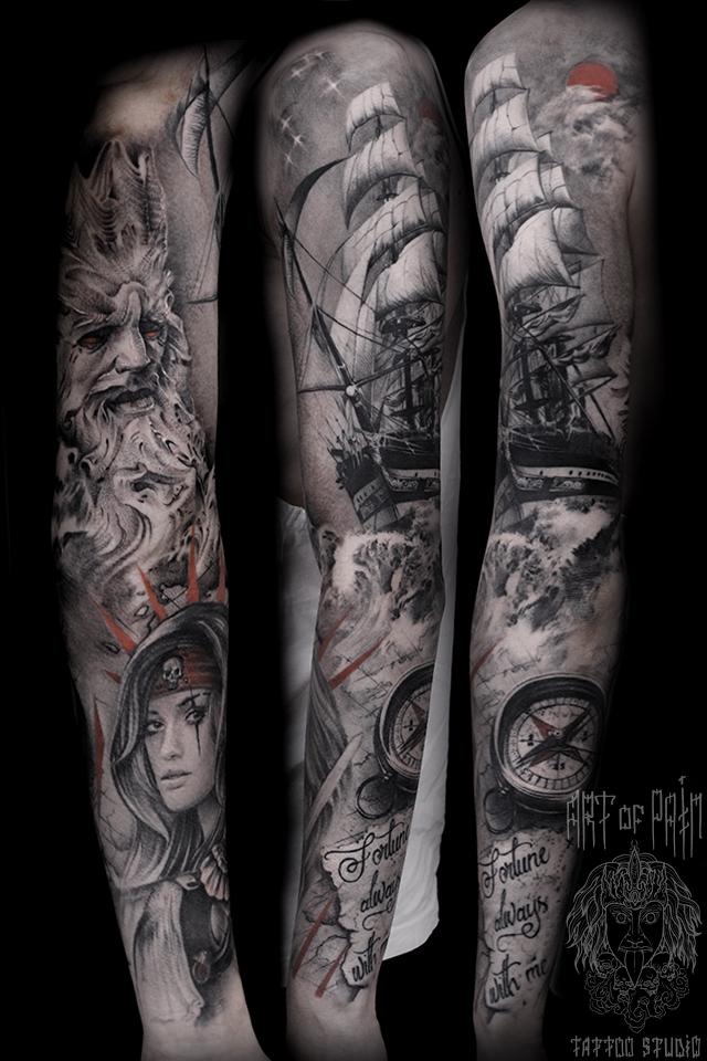 Татуировка мужская реализм тату-рукав морской, корабли, пираты – Мастер тату: Слава Tech Lunatic