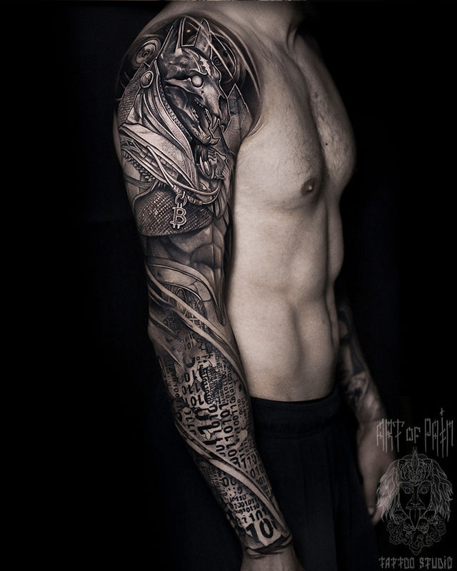 Татуировка мужская хоррор тату-рукав Анубис – Мастер тату: Слава Tech Lunatic