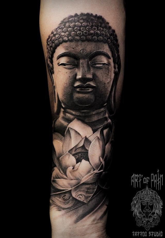 Татуировка мужская реализм на предплечье будда – Мастер тату: Слава Tech Lunatic