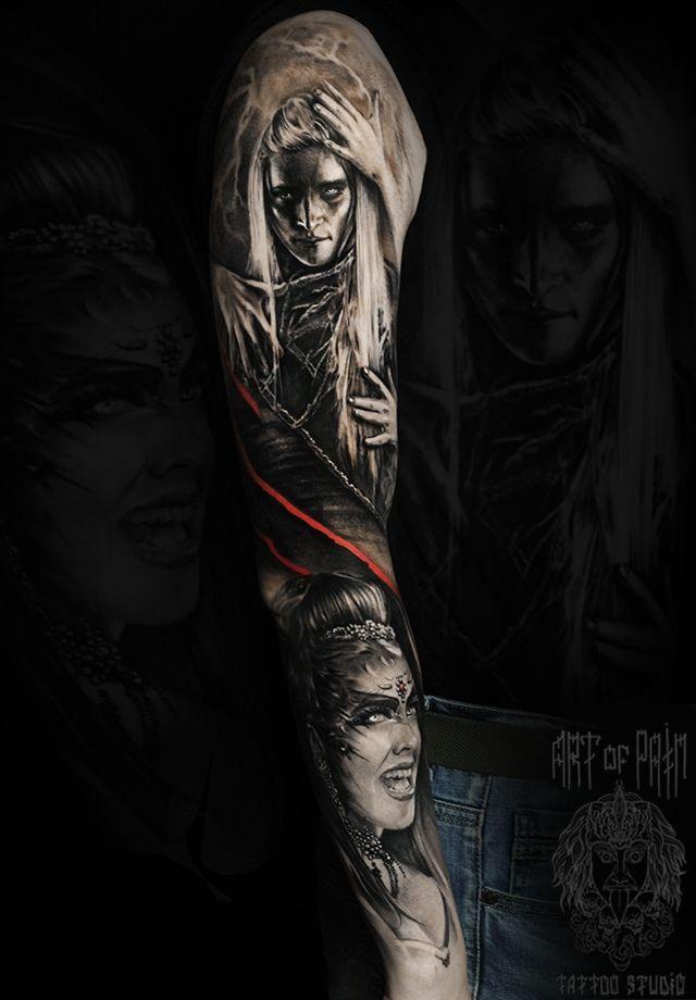 Татуировка мужская реализм тату-рукав темный эльф мистика – Мастер тату: Слава Tech Lunatic