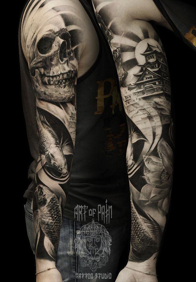 Татуировка мужская Black&Grey рукав череп и пагода – Мастер тату: Слава Tech Lunatic