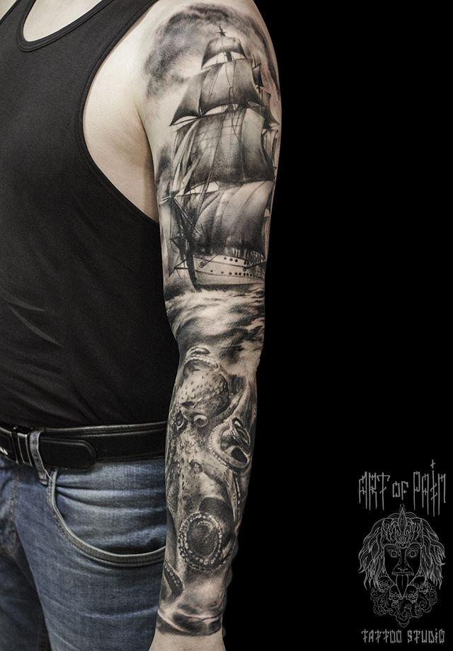 Татуировка мужская Black&Grey рукав корабль – Мастер тату: Слава Tech Lunatic