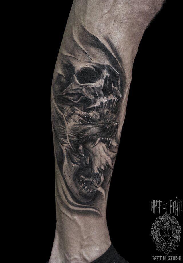 Татуировка мужская Black&Grey на икре волк – Мастер тату: Слава Tech Lunatic