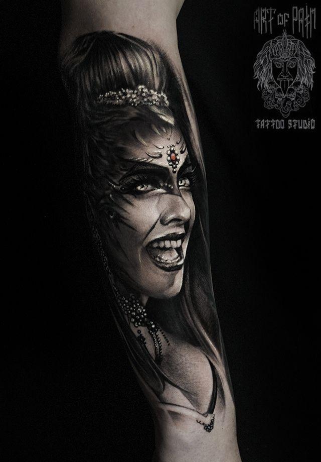 Татуировка мужская реализм на предплечье портрет девушки – Мастер тату: Слава Tech Lunatic