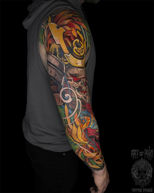 Татуировка мужская япония тату-рукав череп, маска, самурай, хризантемы – Мастер тату: