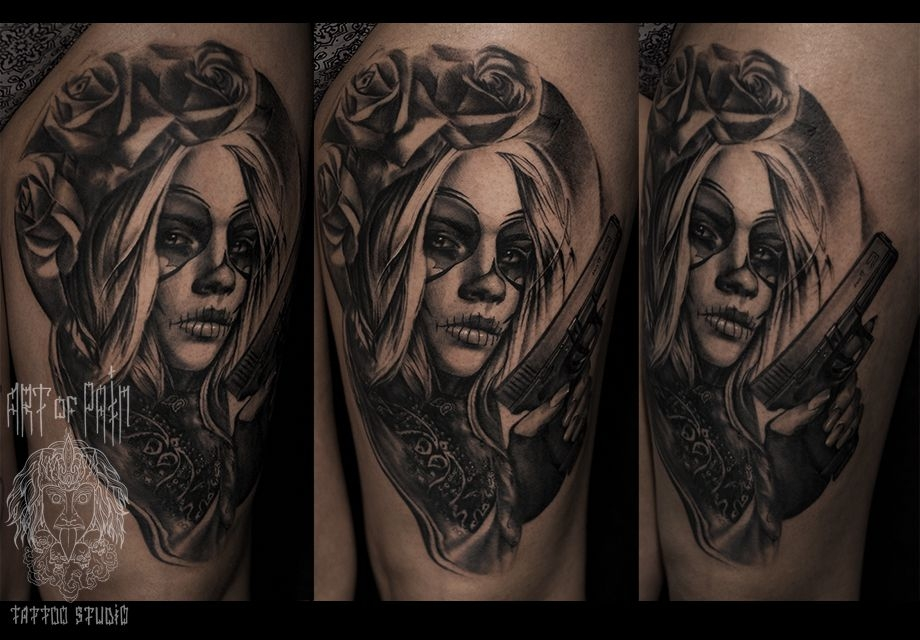 Татуировка женская чикано на бедре муэрте – Мастер тату: Слава Tech Lunatic