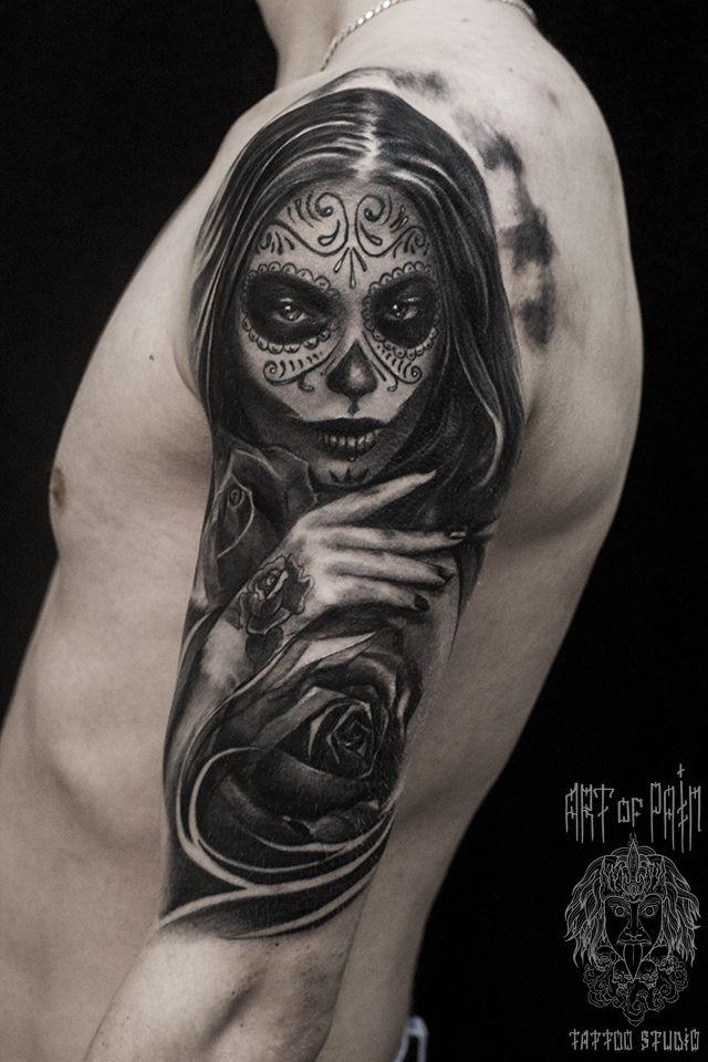 Татуировка мужская чикано на плече муэрте – Мастер тату: Слава Tech Lunatic