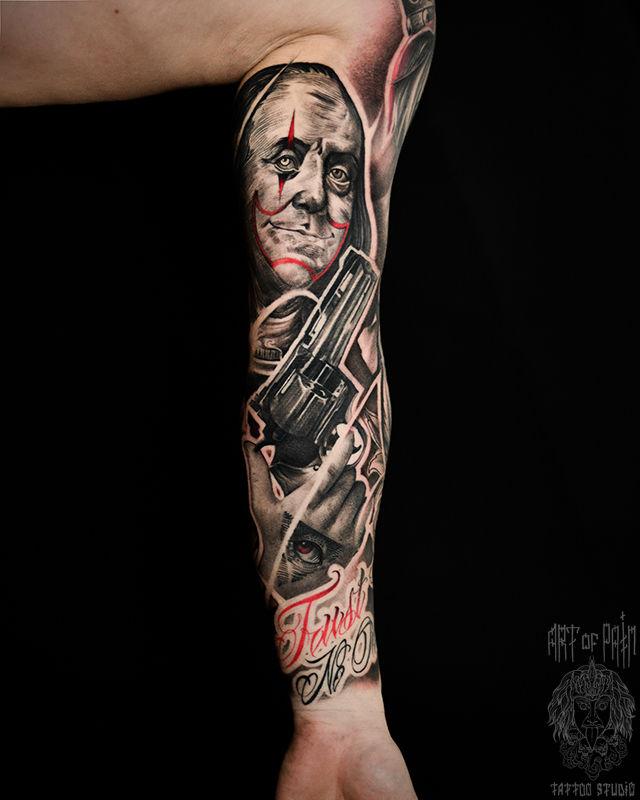 Татуировка мужская чикано тату-рукав Франклин и пистолет – Мастер тату: Слава Tech Lunatic