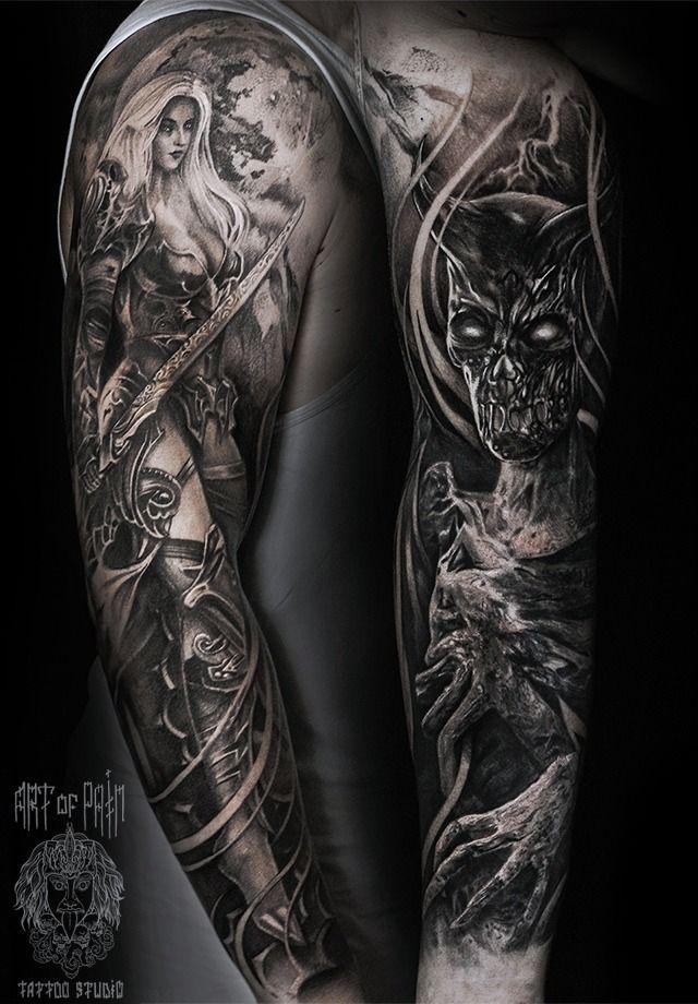 Татуировка мужская фентези тату-рукав монстр и девушка-воин – Мастер тату: Слава Tech Lunatic