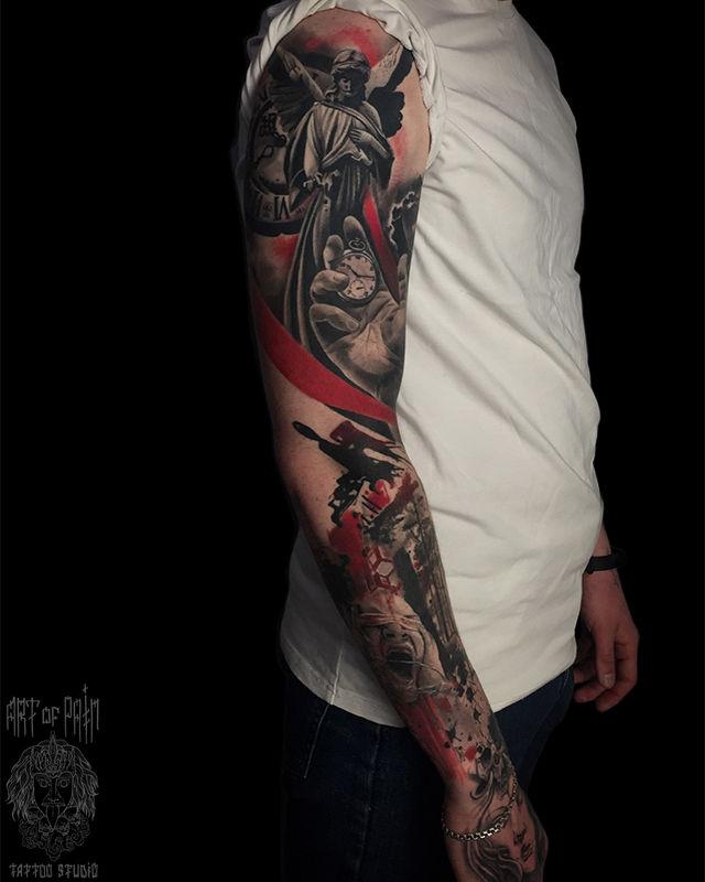 Татуировка мужская реализм тату-рукав ангел, рука, часы, девушка – Мастер тату: Анастасия Юсупова
