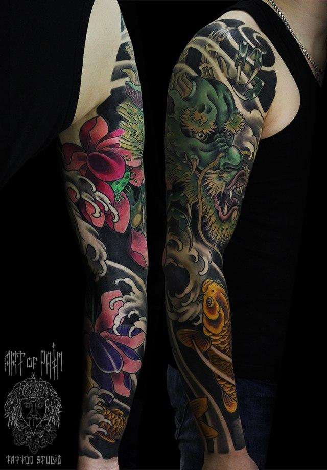 Татуировка мужская япония тату-рукав дракон и карп – Мастер тату: Ольга Добрякова