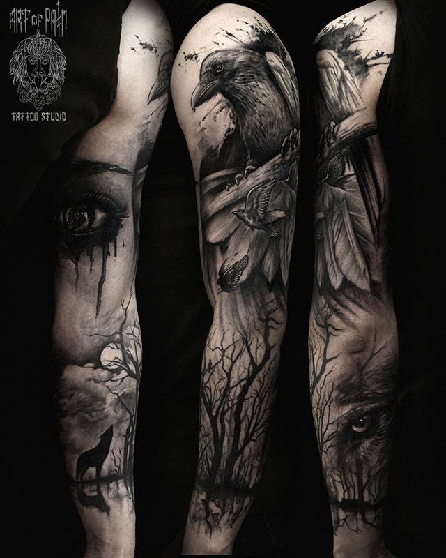 Татуировка мужская black&grey тату-рукав ворон, глаз, лес, волк – Мастер тату: Слава Tech Lunatic