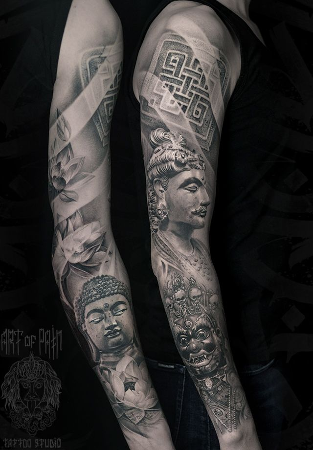 Татуировка женская реализм тату-рукав Будда, боги, лотосы, орнамент – Мастер тату: Слава Tech Lunatic