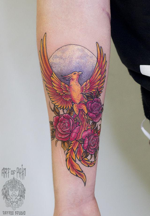 Татуировка женская нью-скул на предплечье феникс – Мастер тату: Анастасия Родина