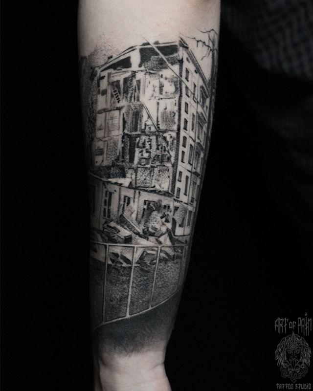 Татуировка мужская графика на предплечье город – Мастер тату: Слава Tech Lunatic