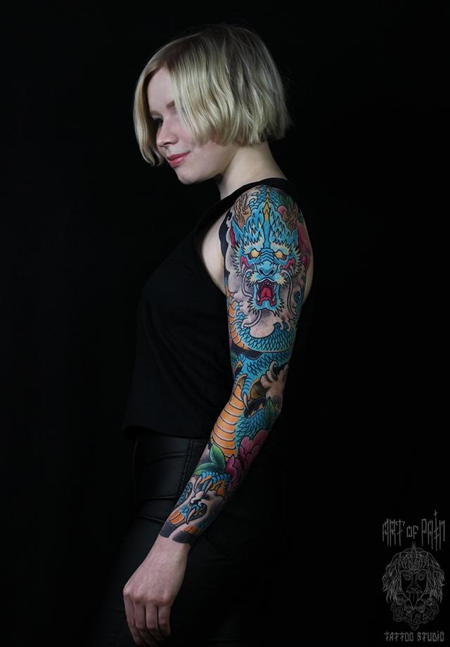 Татуировка женская япония тату-рукав дракон – Мастер тату: Ольга Добрякова