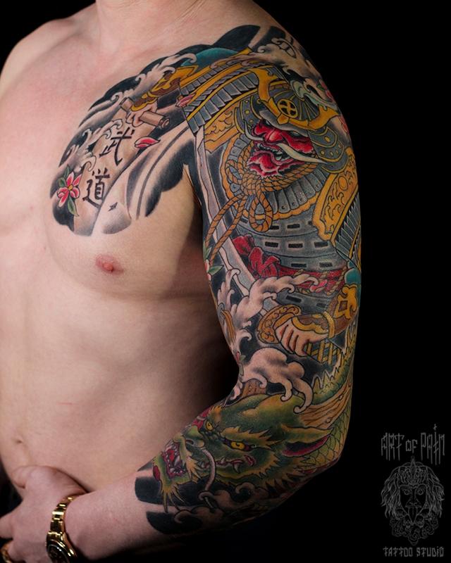 Татуировка мужская япония тату-рукав самурай и дракон – Мастер тату: Ольга Добрякова