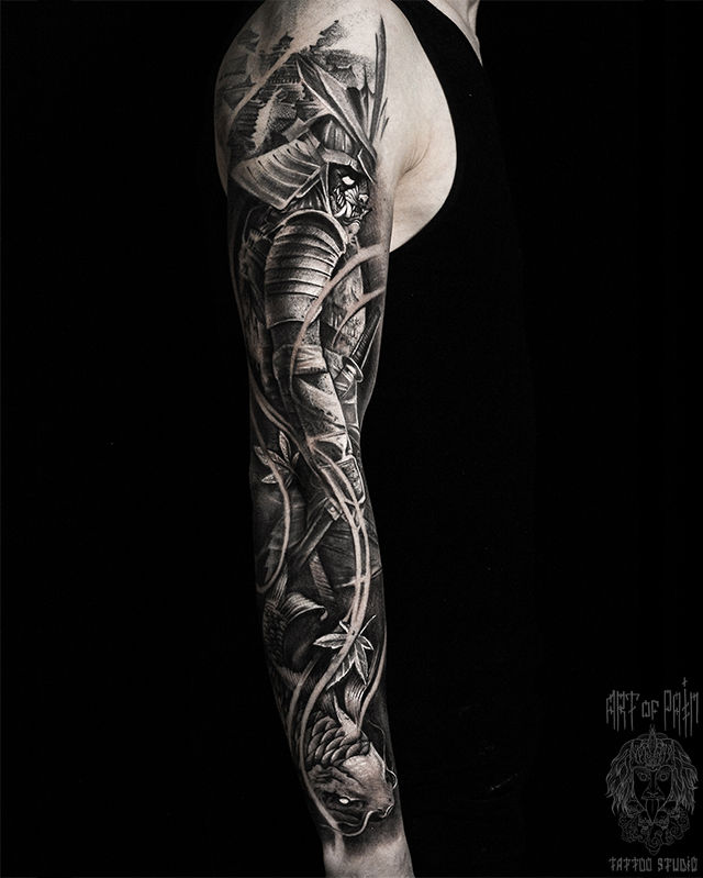 Татуировка мужская реализм тату-рукав самурай и карп – Мастер тату: Слава Tech Lunatic
