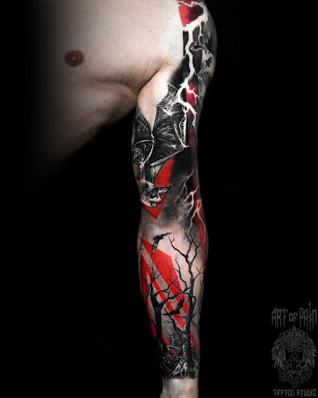 Татуировка мужская треш полька тату-рукав летучие мыши и лес – Мастер тату: Слава Tech Lunatic