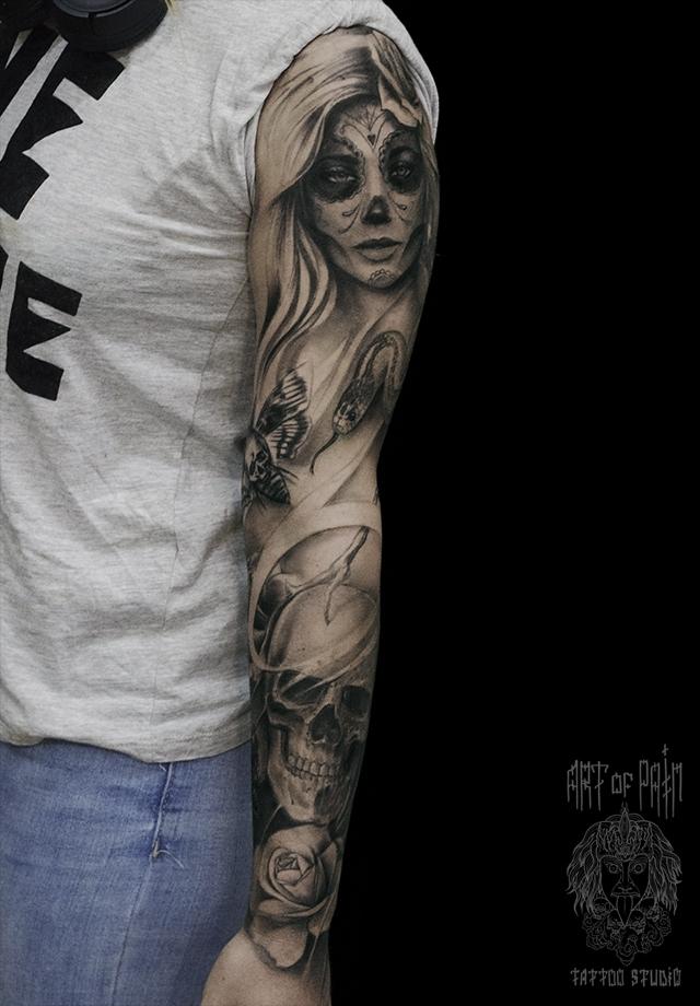 Татуировка женская чикано на руке дама и череп – Мастер тату: Слава Tech Lunatic