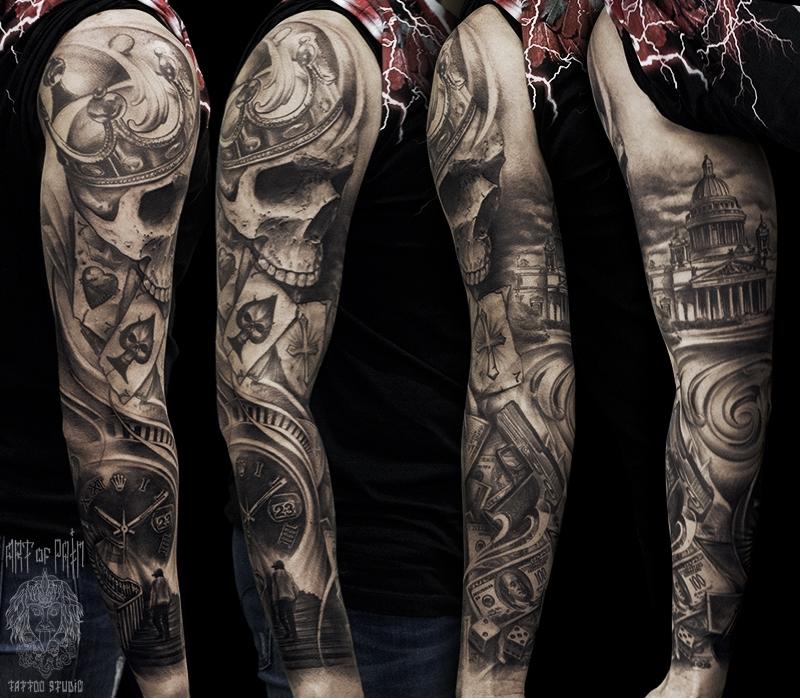Татуировка мужская black&grey тату-рукав череп и белый дом – Мастер тату: Слава Tech Lunatic