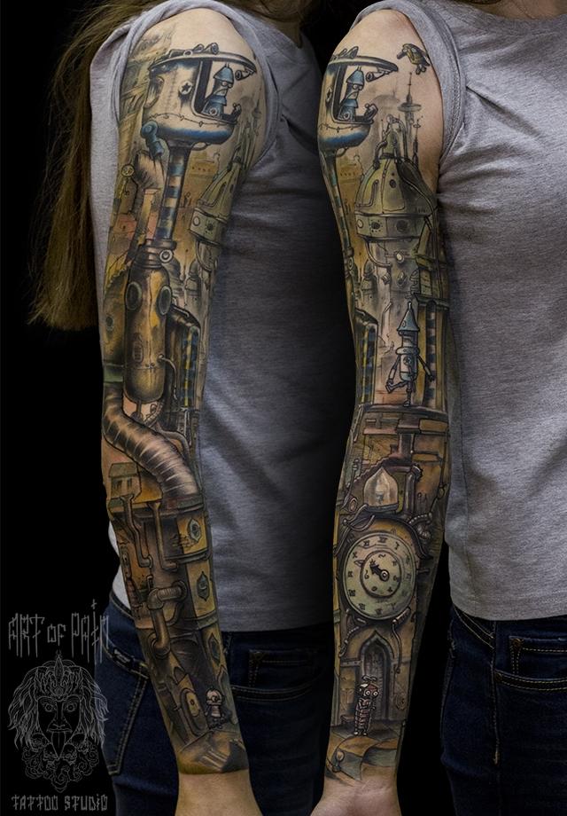 Татуировка женская нью-скул тату-рукав по игре – Мастер тату: Слава Tech Lunatic