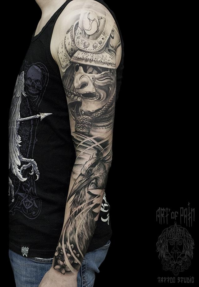 Татуировка мужская реализм тату-рукав самурай и журавль – Мастер тату: Слава Tech Lunatic
