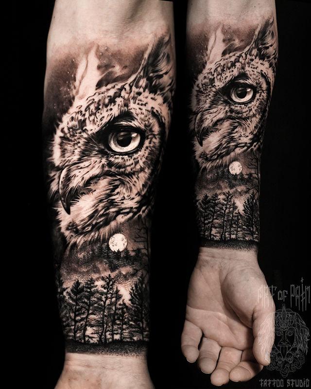 Татуировка мужская реализм на предплечье сова – Мастер тату: Слава Tech Lunatic