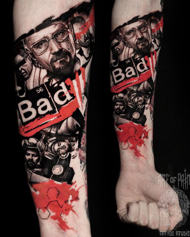 Татуировка мужская треш-полька на предплечье портреты – Мастер тату: Слава Tech Lunatic