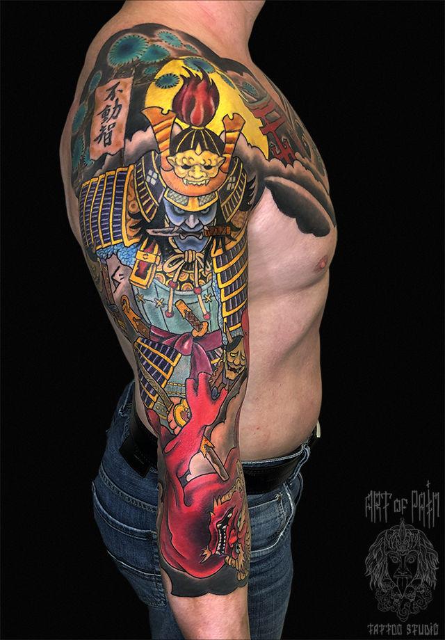 Татуировка мужская япония тату-рукав самурай и демон – Мастер тату: Ольга Добрякова