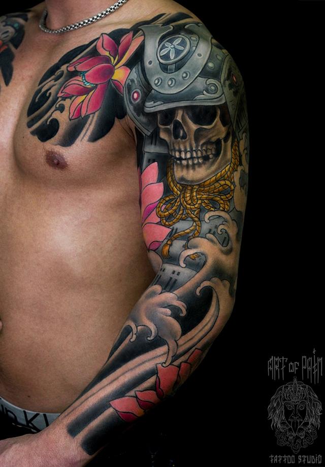 Татуировка мужская япония тату-рукав мертвый самурай – Мастер тату: Ольга Добрякова