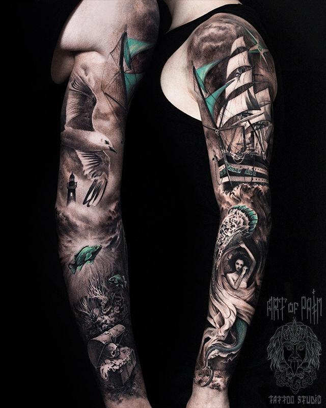 Татуировка мужская реализм тату-рукав корабль, русалка, сокровища, чайка, маяк – Мастер тату: Слава Tech Lunatic